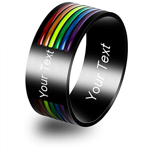 Personalized Custom Name Initial Gay Pride Rings Stainless Steel LGBT Enamel Rainbow Stripe Lesbian Pride Ring Wedding Band for Men and Women(10)