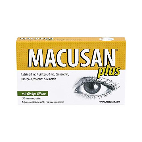 Macusan® Plus - Pastillas para los ojos - Suplementos para la salud macular - Vitaminas para los ojos con luteína zeaxantina Ginkgo Biloba y Omega 3 para mejorar las tabletas de vitaminas para la vista relacionadas con la edad y la vista - Premium Alemania Made