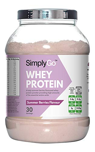 SimplyGo Whey Protein Powder | 900g | Delicious Strawberry, Chocolate, Banana or Vanilla Flavoured Muscle Building Supplement | Simply Add 30g to Water, Juice or Shakes (Summer Berries)