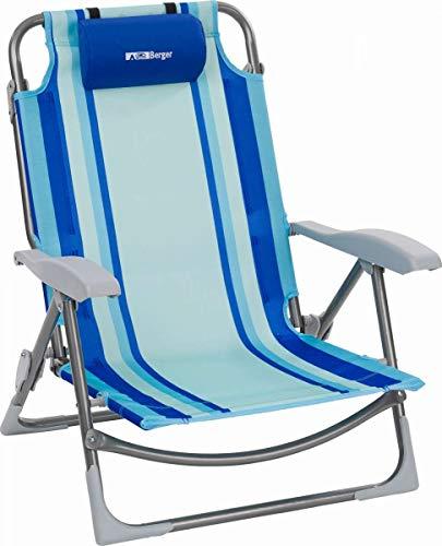 BERGER Beachline Klappstuhl, mit Kissen, leichtes Stahlgestänge, Rückenlehne 5-Fach verstellbar