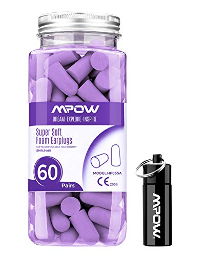 Mpow 055A Ear Plugs 60 Pairs, Super Soft Foam Ear Plugs 34dB SNR, Noise Reduction Hearing Protector, with Aluminum Carry Case, for Sleeping,...