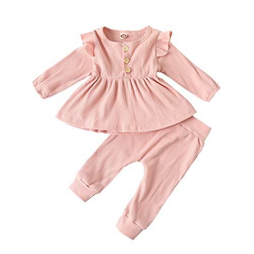 Carolilly Set für Kinder, Baby, Mädchen, 2-teilig, Baumwolle, gerippt, Oberteil mit Rüschen, Langarm + Hose Gr. 18-24 Monate, Rosa