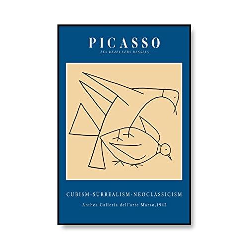Carteles e impresiones de Picasso vintage, decoración de imagen de personaje de arte de pared de niña abstracta, pintura de lienzo sin marco A1 50x70cm