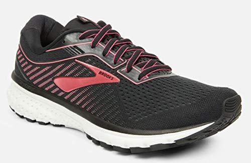 Brooks Womens Ghost 12 Running Shoe Black/Pink/White 7.5 B US