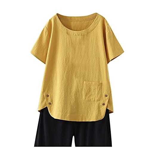 Julhold Camisa Mujer Sólido Lino Manga Corta Suelta Top