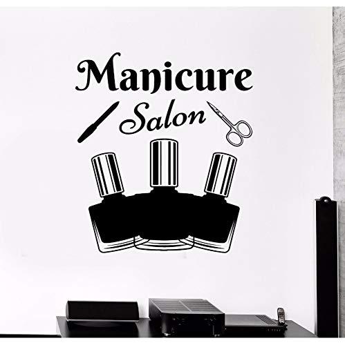 Hlonl Maniküre Werkzeuge Wandtattoo Nagellack Wandkunst Wand Schönheitssalon Dekoration Abnehmbare Vinyl Maniküre Salon Tapete 57 * 65 Cm