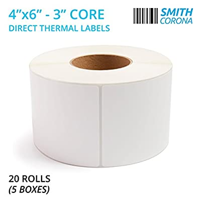 """Smith Corona - 20 Rolls, 4'' x 6'' Direct Thermal Labels, 3'' Core, 20000 Labels Total, Made in the USA, For 3"""" Core Industrial Printers (20 Rolls)"""