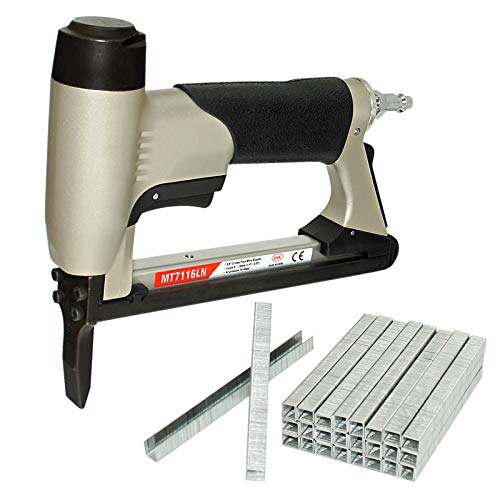 MT7116LN 22 Gauge Pneumatic Upholstery Staple Gun with Staples, 3/8-Inch Crown Long Nose Fine Wire Stapler, 1/4-Inch to 5/8-Inch Leg Length Air Power Furniture Staple Gun for Upholstering, Fabric