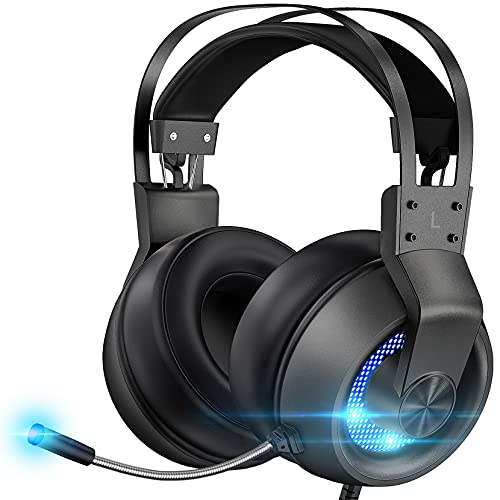 Stereo Gaming Headset for PS4 PC Xbox One PS5 Controller, Noise Cancelling Over Ear Headphones with Mic, LED Light, Bass Surround, Soft Memory Earmuffs for Laptop Mac Nintendo NES Games (Blue)