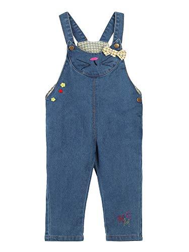 Baby Kleinkind Kinder Mädchen Jeans Latzhosen Denim Jeans Hosen für Frühling Herbst Cartoon Kätzchen Pattern und Fliege Größe 110cm