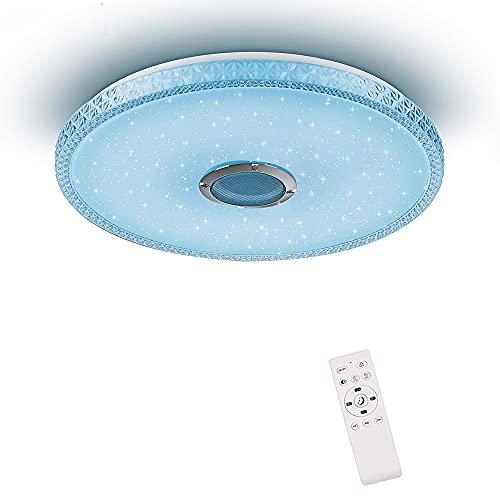 Plafón de Techo 24W Lámpara de Techo Musical con Altavoz Bluetooth y Mando a Distancia, Ø38cm Plafón Bluetooth para la Habitación de los Niños Sala de Estar (Certificación CE)