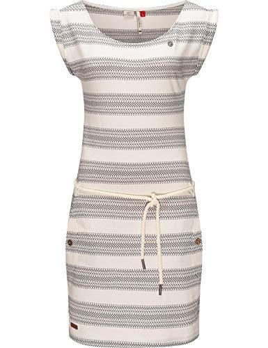 Ragwear Damen Sommerkleid Freizeitkleid Jersey Kleid Tag Blockstripes Intl. White Gr. M