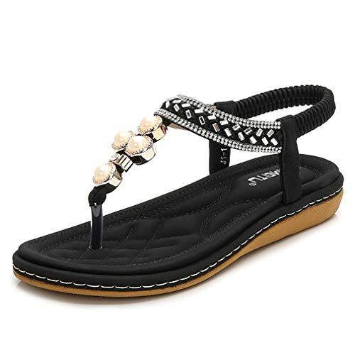 Sandalias de mujer trenzadas con diamantes de imitación de perla de tamaño más grande zapatos de mujer niñas sólido casual sandalias de princesa zapatos planos mujer zapatos de playa casual negro, 35