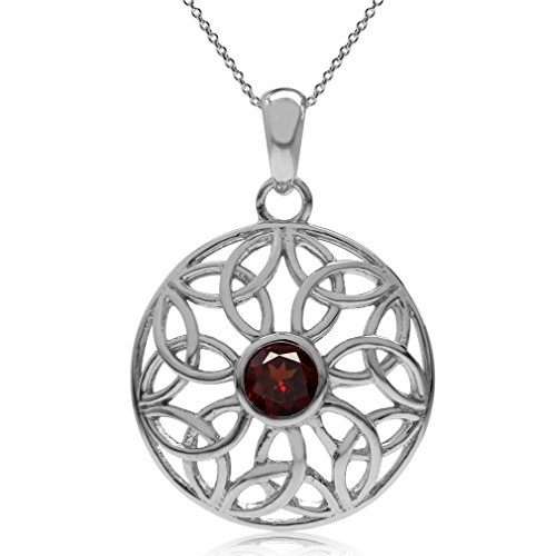 Silvershake Natural Garnet 925 Sterling Silver Triquetra Celtic Knot Circle Pendant with 18 Inch Chain Necklace