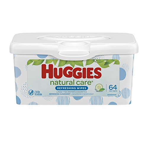 Huggies Natural Care Refreshing Baby Wipes, Scented, 1 Nursery Tub (64 Wipes Total)