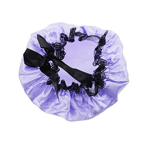 Bonnet de douche réutilisable avec nœud double imperméable en dentelle élastique pour femme (violet)
