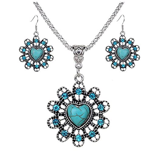 SMEJS, collar con colgante de turquesa Retro chapado en plata, pendientes con forma de corazón, accesorios para joyería de mujer