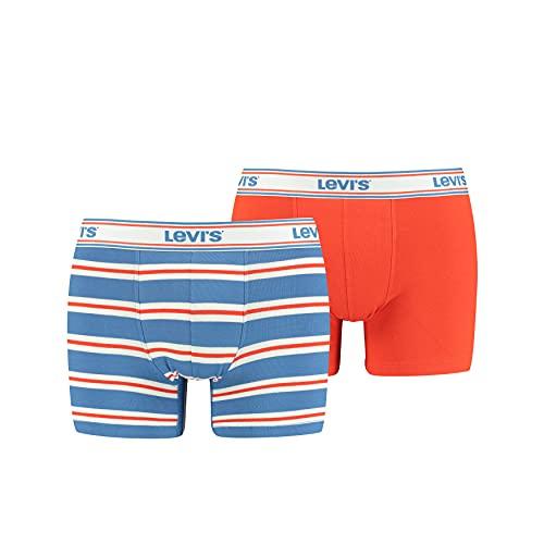Levi's Men's Sporty Stripe Boxer Briefs (2 Pack) Shorts, Rot/Blau, M