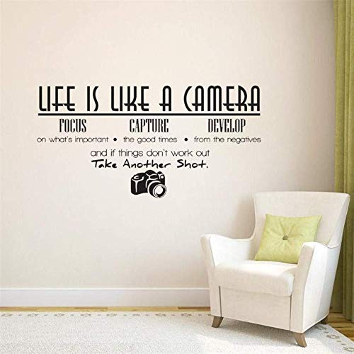 Het leven is een Camera Quote Muurstickers Home Decor Foto Vinyl Adesivo De Parede Home Decoratie Muursticker