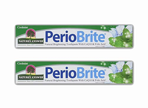 Nature's Answer PerioBrite Natural Toothpaste, Cool Mint, 4-Ounce (Pack of 2) Fluoride Free with CoQ10 & Folic Acid | Naturally Whitens Teeth | Freshens Breath | Removes Plaque | Minimizes Dry Mouth