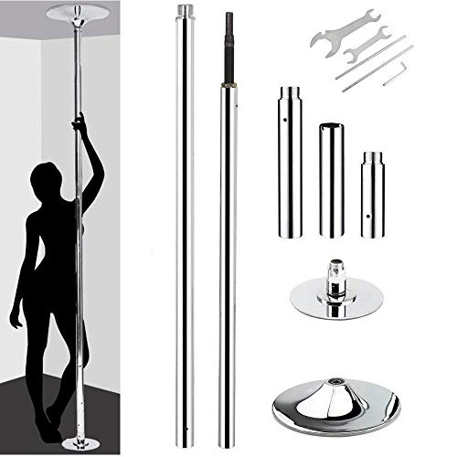 Yaheetech Fitness Dance Pole Exercise Stripper Dancing Pole Spinning & Static Dance Pole Set with 92.5-108.3in Adjustable Height,Silver