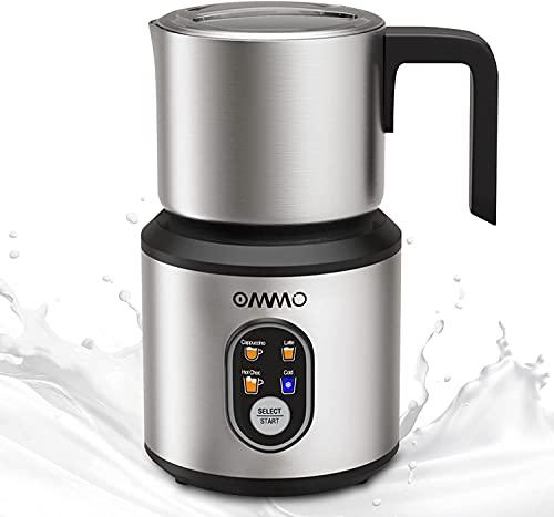 Milchaufschäumer Elektrisch, 500W, 350ml, 4 in 1 Magnet-Milchaufschäumer mit Abnehmbare Tasse, Automatischer Milchaufschäumer in Edelstahl, Erhitzen und Aufschäumen Kalte/Heiße Milch Schokolade
