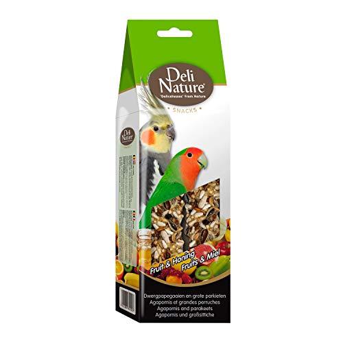 DELINATURE Barritas de Fruta y Miel para Agapornis y Cotorritas, 2 uds. de 130 g, Pájaros