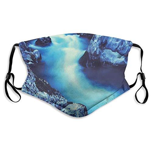 FULIYA Protector bucal y nariz de tela, lago peligroso congelado con atmósfera de una cueva y nieve en las rocas, bandana reutilizable de media cara, funda protectora lavable, longitud ajustable (S)