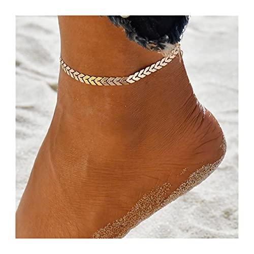 HETHYAN Tobillera bohemia en la pierna, tobilleras femeninas de moda descalzo para mujer, cadena de pierna para la playa (Metal Color: Estilo Q)