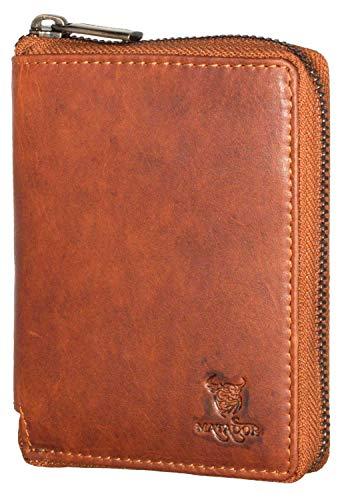 MATADOR Geldbörse für Damen Echt Leder RFID & NFC Schutz Metall Reißverschluss Portmonee Herren (Braun)