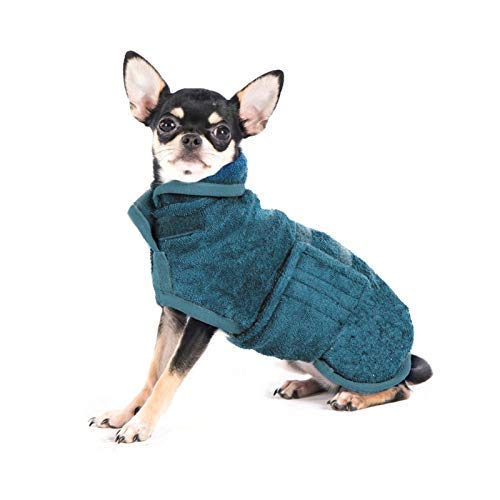 PETTOM Hundebademantel Mikrofaser Badezubehör Badetuch Hund Bademantel für Kleine Mittlere und Große Hunde (Blau,L)
