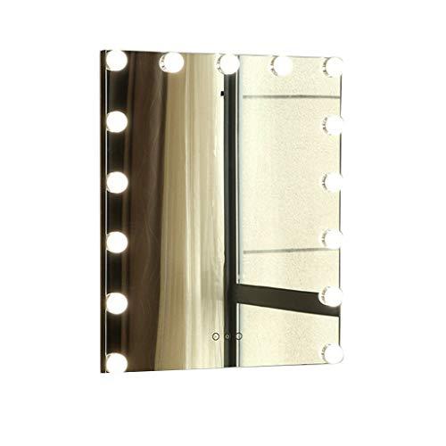 Hfyo Badkamerspiegel make-upspiegel dimbare led-lamp, professionele kaptafel spiegel met lampjes, bureau-make-upspiegel 3 soorten lichtbronomzetting, wandspiegel