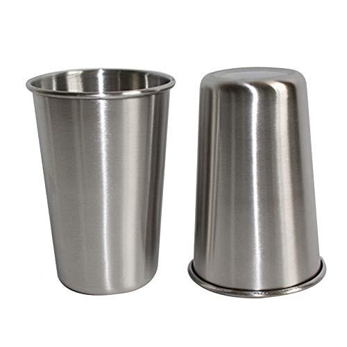 Cuisine multifonction Gobelet en acier inoxydable électropoli à une paroi, 500 ml (Argent) , Léger et durable, facile à laver et à nettoyer (Couleur : Silver)