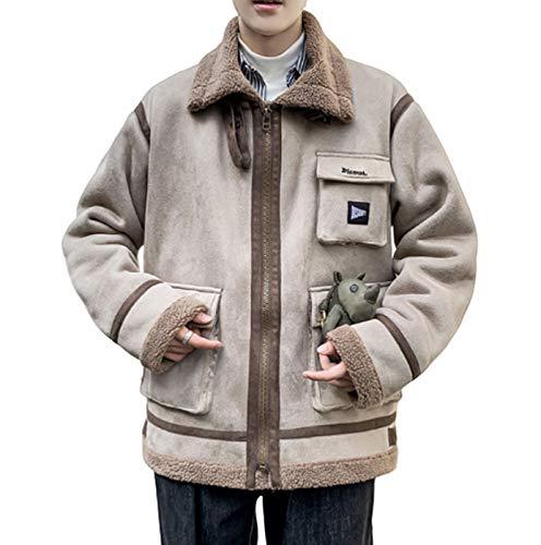 GL SUIT Heren Winter Jas Warm Faux Bont Lammen Wol Jas Suede Lapel Fleece Windbreaker Bovenkleding Mode Jas Kleding voor Reizen Wandelen