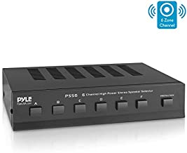 Premium New and Improved 6 Zone Channel Speaker Switch Selector Switch Box Hub Distribution Box for Multi Channel High Powered Stereo Amplifier A/B/C/D Switches   6 Pairs Of speakers - Pyle (PSS6),Black