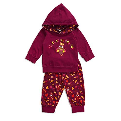 DODOYA Bebé niño Mi Primer Traje de Acción de Gracias, Sudadera de Manga Larga de Turquía, Pantalones florales, Ropa Otoño Invierno (rot, 6-12 Monate)