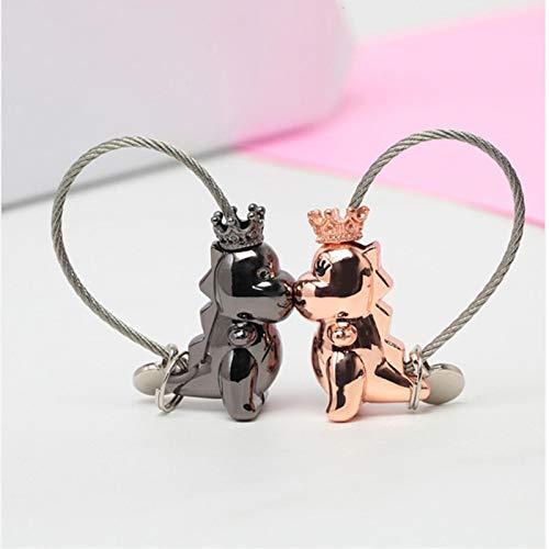 OSALAD Llavero magnético de metal con diseño de beso para bebé, diseño de dinosaurio, para regalo de San Valentín
