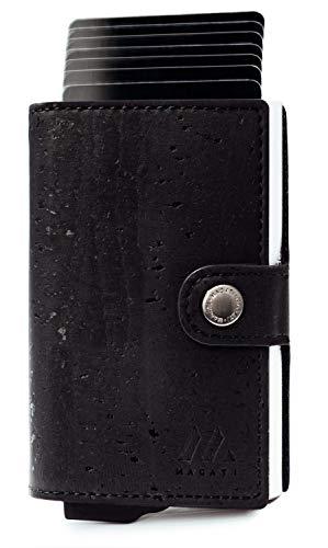 MAGATI Slim Wallet Zila – Tarjetero con tarjetero – Monedero de corcho vegano con servicio de fundación, billetero y protección RFID – Corcho negro carbón