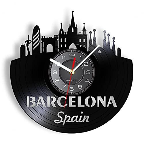 Wwbqcl España Barcelona Skyline Reloj de Pared Reloj de Pared Iluminado Regalo de los viajeros sin LED
