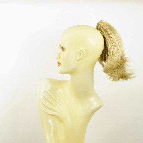 Postiche queue de cheval extension femme courte 28 cm blond doré méché blond très clair ref 9 en 24bt613