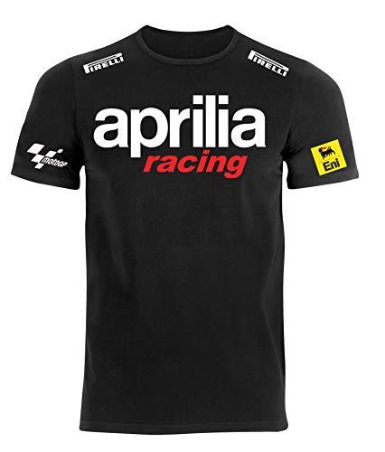 REITANO GROUP Tshirt Stile Aprilia Moto Auto Racing Rally Sport Maglietta Umoristica Uomo APRN1 (L)