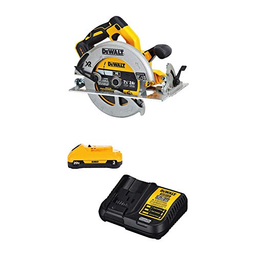 DEWALT 20V MAX 7-1/4-Inch Circular Saw with Battery Pack & Charger Kit, 3-Ah (DCS570B & DCB230C)