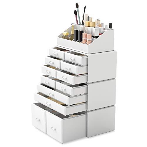 Readaeer 4 Teilig Makeup Organizer/Kosmetik Aufbewahrungsbox/Schmink Aufbewahrungskasten mit Schubladen in verschiedenen Größen, ist für Schlafzimmer und Badzimmer geeignet (Weiß)