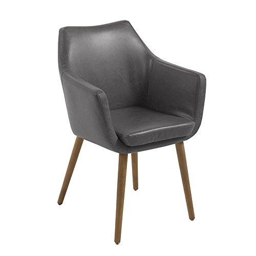 AC Design Furniture Lore - Silla con brazos (revestimiento de piel artificial, patas de roble), Gris Claro