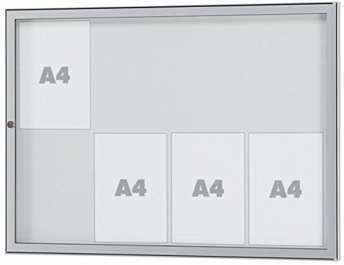 Tesus Opbergdoos voor buiten, alle maten. Geschikt voor 1x DIN A4-16 x DIN A4 - Infobox met ESG-veiligheidsglas - weerbestendig - onderhoudsvrij - veilig. 8 x DIN A4 AußenmaßeBxHxT: 905x660x30mm zilver geanodiseerd