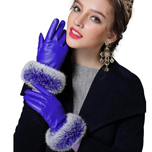 GUANAI Gant Winter Warm PU Leather Thicken Gloves Ms Full Finger Wrist Touch Phone Screen Gloves Blue M