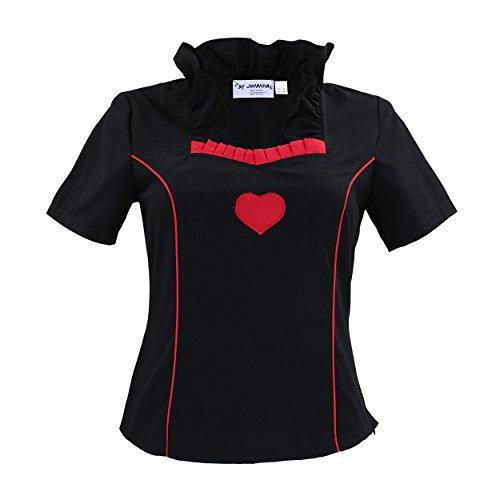 By Johanna Trachtenbluse Damen Trachtenmieder Schwarz Rot Herz Tailliert Bluse zur Trachten-Jeans Lederhose Kurz arm 48