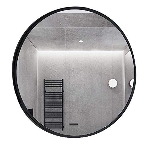 NYDZDM grote moderne metalen ronde spiegel muur opknoping spiegel - zwarte rand dik 3,5 cm - Premium zwevende glazen paneel - Décor Vanity, slaapkamer, of badkamer