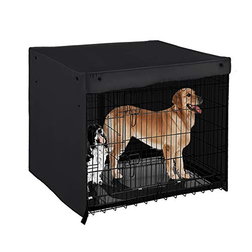 PONY DANCE Dog Crate Cover - Pet Kennel Covers Universal Fit for 36/42/48 Inches Wire Dog Crate, Lightweight 100% Polyester Fabric, Breathable Double Door Dog Cage Cover