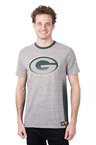 Ultra Game Men's NFL Vintage Ringer Short Sleeve Tee Shirt, Green Bay Packers, Gray, X-Large